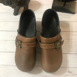 Sanita Brown Clogs with removable buckle Size 42